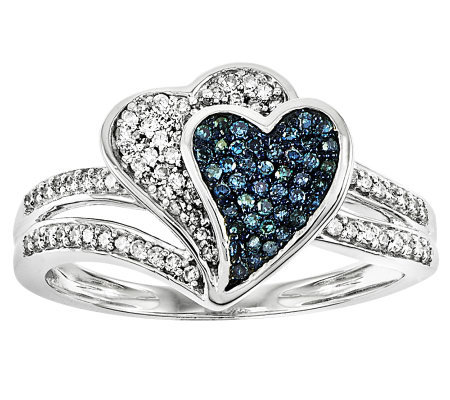 Blue & White Diamond Heart Ring, Sterling, 3/10by Affinity