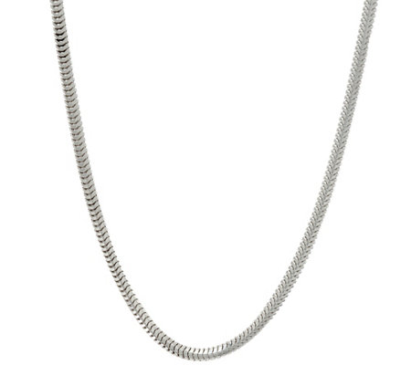 "UltraFine Silver Polished Snake 24"" Chain Necklace, 16.7g"
