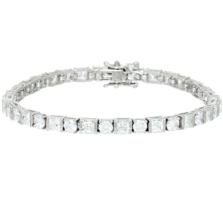 Diamonique Round & Princess Cut Tennis Bracelet Platinum Clad