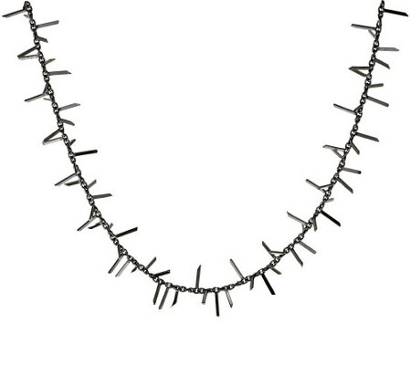 """As Is"" Italian Silver Sterling 24"" Polished Fringe Station Necklace, 11.3g"