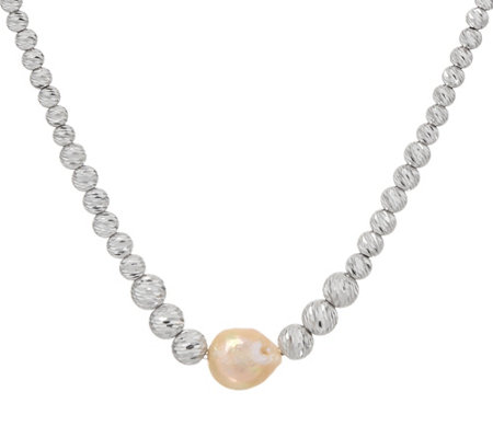 "Honora Ming Cultured Pearl & Diamond Cut Sterling Bead 18"" Necklace"