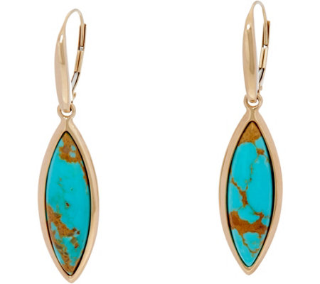 Golden Kingman Turquoise Marquise Lever Back Earrings, 14K