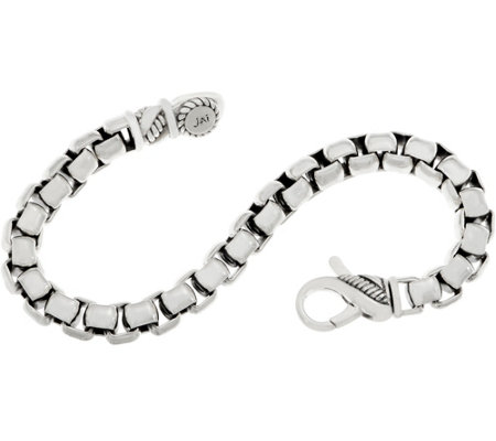 JAI Sterling Silver 7.25mm Round Box Chain Bracelet 39.8g-44.7g
