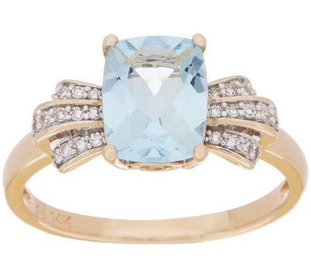 Elongated Cushion Aquamarine and Diamond Ring, 1.30 cttw, 14K