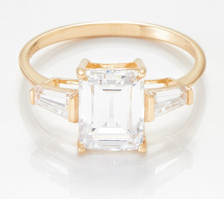 Diamonique Solitaire Ring with Baguette Side Stones, 14k Yellow Gold