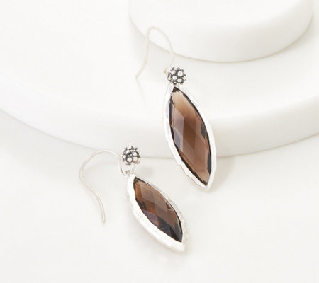 Michael Dawkins Sterling Silver Smoky Quartz Marquise Drop Earrings