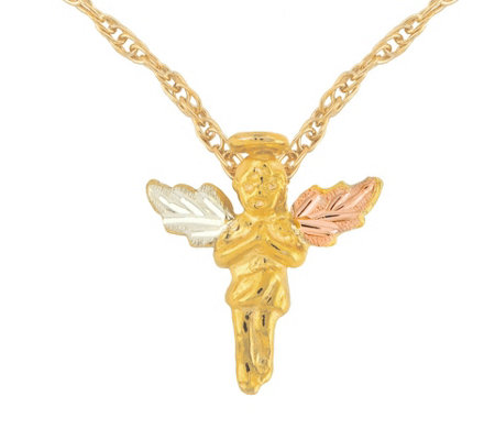 Black Hills Angel Pendant w/ Chain, 10K/12K Gold