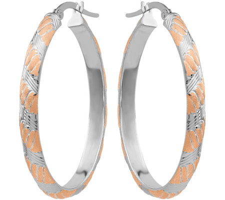 14K White & Rose Gold Satin Hoop Earrings