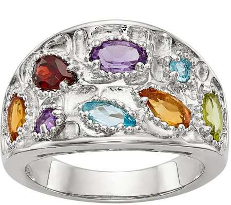 Sterling 1.25 cttw Multi-Gemstone Band Ring