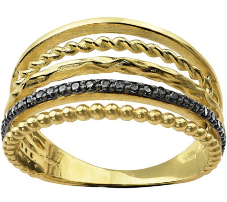 Adi Paz Multi-Row Black Spinel Ring, 14K Gold