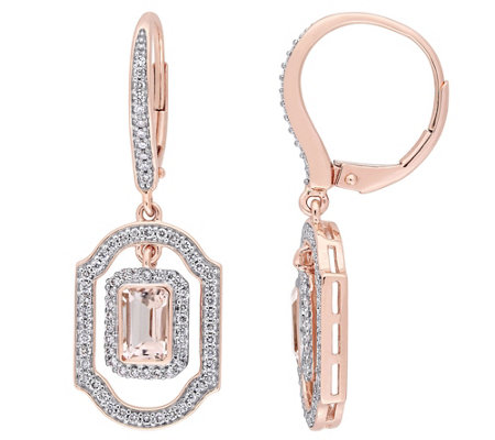 14K Gold 1.10 cttw Morganite & Diamond Lever Back Earrings