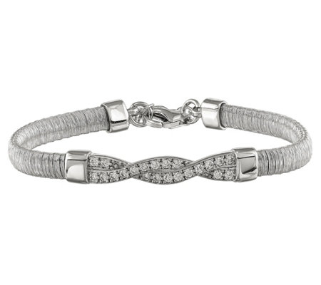 "Italian Silver 7"" Wire-Wrapped Crystal StationBracelet, 11.1g"