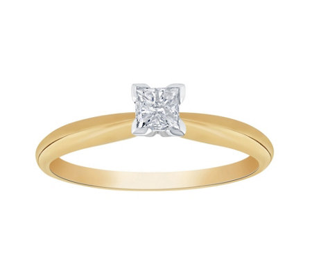 Affinity 14K Gold 1/4 cttw Princess-Cut Solitaire Diamond Ring