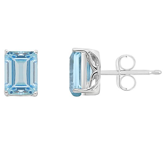 Details about  /3CT Princess Cut Classic Studs Natural Sky Blue Topaz 18k Yellow Gold Earrings
