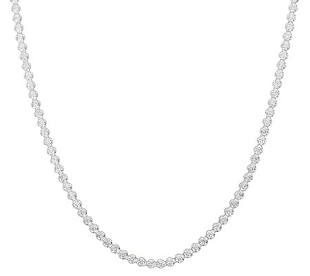"Diamonique 22.00 cttw 30"" Tennis Necklace, Sterling"