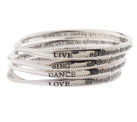 Set Of 4 Inspirational Bangle Bracelets By Garold Miller