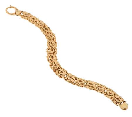 8 Bold Polished Byzantine Bracelet 14k Gold