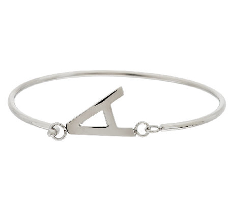 Stainless Steel Block Initial Bangle