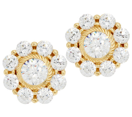 Judith Ripka 14K Clad 118 Facet Diamonique Stud Earrings