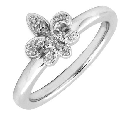 Simply Stacks Sterling & Diamond Fleur-de- LisRing