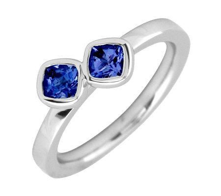 Simply Stacks Sterling Created Sapphire Double-Square Ring