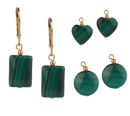 Lee Sands Interchangeable Malachite Earrings