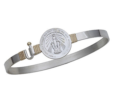 Miraculous Medal Bangle, Sterling Silver/14K