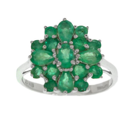Sterling 1.65 ct tw Emerald Cluster Ring