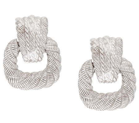 Judith Ripka Sterling Status Link Door Knocker Earrings