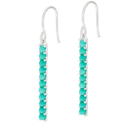 Sterling Turquoise Stick Design Dangle Earrings