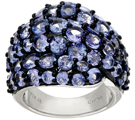 Tanzanite Cluster Sterling Silver Bold Ring 6.50 cttw