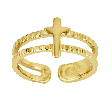 Polished Double-Row Cross Toe Ring, 14K Gold