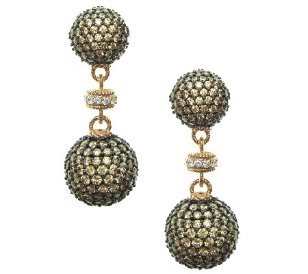 Judith Ripka 14K Rose Gold-Clad Pave DiamoniqueDrop Earrings