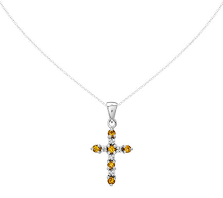 Gemstone and Diamond Cross Pendant with Chain,14K White Gold