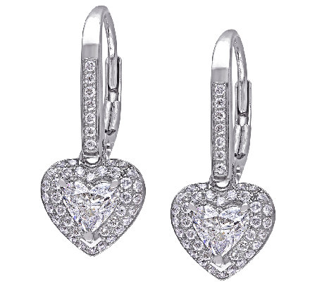 Diamond Heart Earrings, 1cttw, 14K White Gold,by Affinity