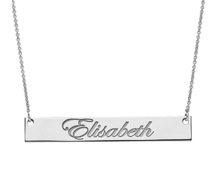Medium Polished Script Name Bar Necklace, 14K