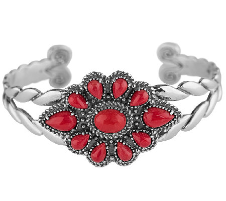 American West Sterling Red Coral Cluster Cuff Bracelet
