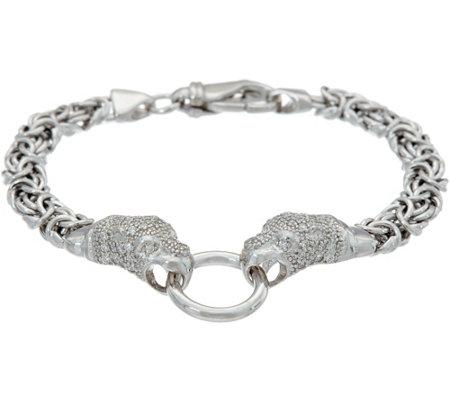 Italian Silver Panther Design Byzantine Bracelet Sterling 16 0g