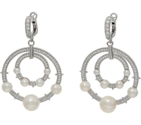 Judith Ripka Sterling Silver Cultured Freshwater Pearl Earrings