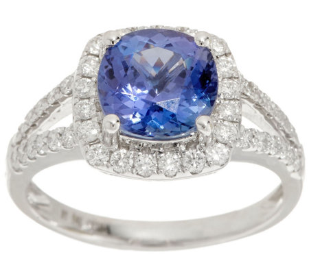 Cushion Cut Tanzanite and Diamond Ring, 2.00 cttw, 14K