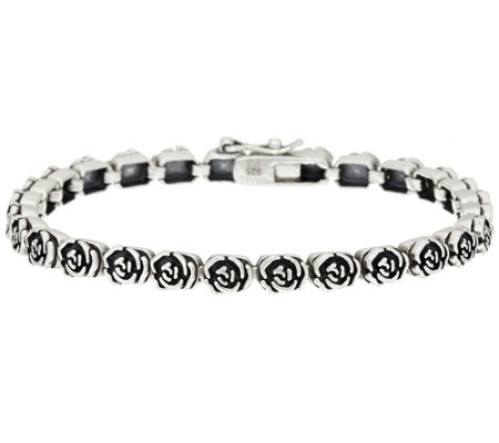 """As Is"" Or Paz Sterling Silver Rose Design Tennis Bracelet"