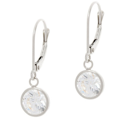 Diamonique Bezel Set Round Leverback Earrings, 14K Gold