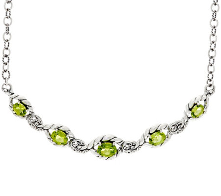 """As Is"" Carolyn Pollack Sterl. Silver 9.00 ct tw Peridot Adj. Necklace"