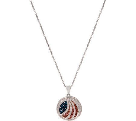 Affinity Diamond American Flag Pendant w/ Chain, Sterling