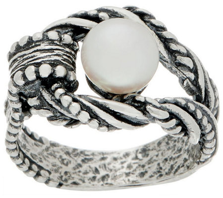 Or Paz Sterling Silver Cultured Pearl Textured Ring
