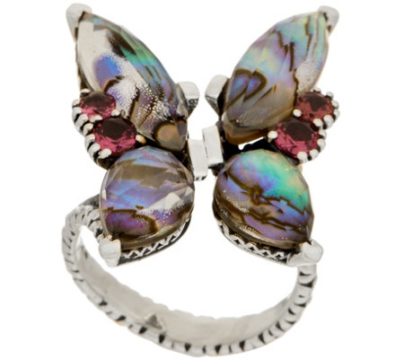 Stephen Dweck Sterling Silver Multi-Gemstone Butterfly Ring