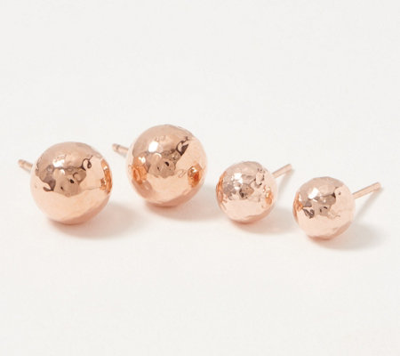 14176de99 JAI Sterling Silver 8mm or 10mm Hammered Bead Stud Earrings — QVC.com