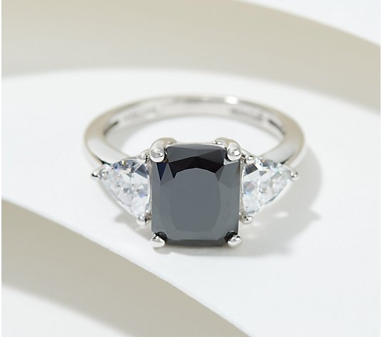 Diamonique x Amy Stran Black Emerald-Cut Ring, Platinum Clad