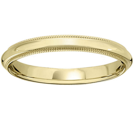 Women's 14K Yellow Gold 3mm Milgrain Wedding Band