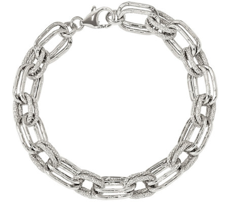 "Sterling Rectangle Link 7-3/4"" Bracelet, 16.5gby Silver Style"